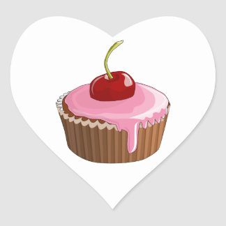 Cupcake with Pink Frosting and Cherry On Top Heart Stickers