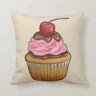 Cupcake with Pink Icing, Chocolate, Original Art Cushion