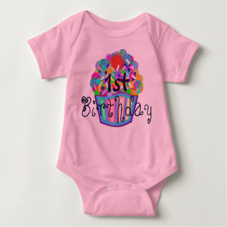 Cupcake With Sprinkles First Birthday Baby Bodysuit