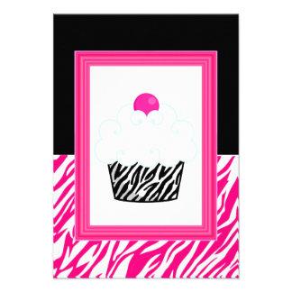 Cupcake Zebra Print Invitations