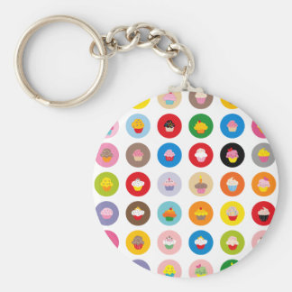 Cupcakes All Basic Round Button Key Ring