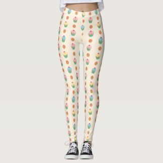Cupcakes and cookies pattern (light background) leggings