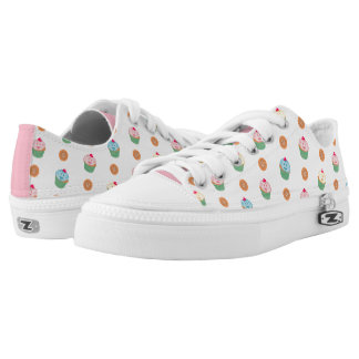 Cupcakes and cookies pattern (white) printed shoes