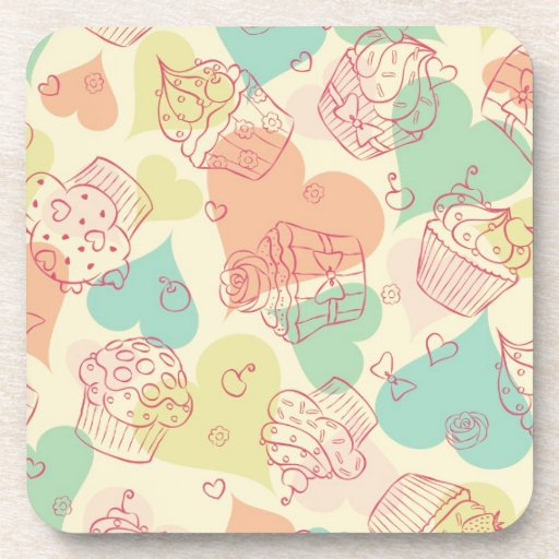 Cupcakes and hearts valentine's day pattern drink coasters