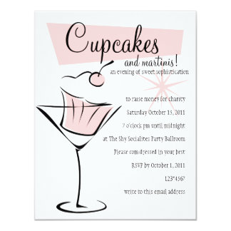 Cupcakes and Martinis! 11 Cm X 14 Cm Invitation Card
