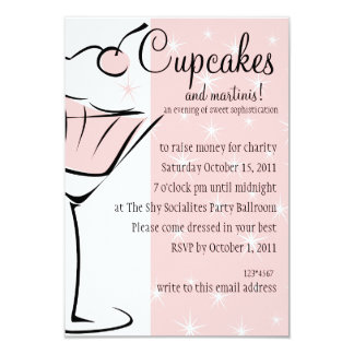 Cupcakes and Martinis Personalized Announcement