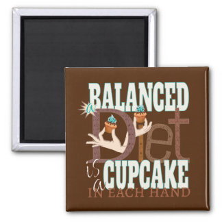 Cupcakes Balanced Diet - Healthy Eating Humor Magnets