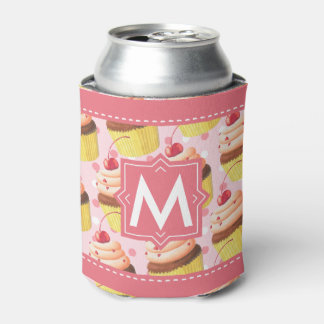 Cupcakes Birthday Party Pink Monogram Personalized Can Cooler