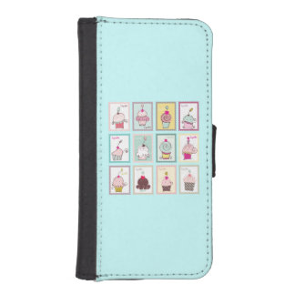 Cupcakes Collage Sweet Blue Phone Wallet Cases