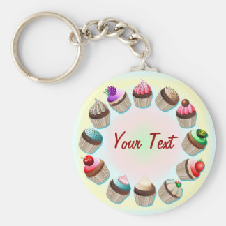 Cupcakes Colorful Circle Keychain