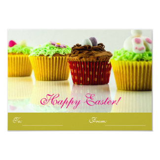 "Cupcakes ""Happy Easter"" To/From 9 Cm X 13 Cm Invitation Card"