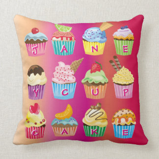 Cupcakes Monogram Delicious Sweet Baked Goodies Cushion