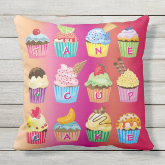 Cupcakes Monogram Delicious Sweet Baked Goodies Outdoor Cushion