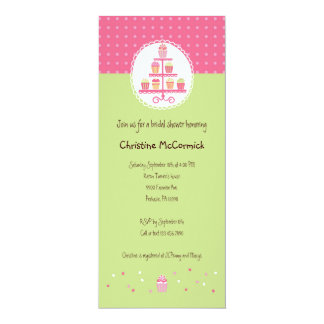 Cupcakes on a Stand 10 Cm X 24 Cm Invitation Card