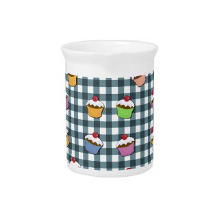 Cupcakes plaid pattern pitcher