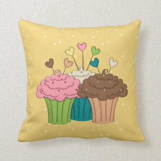 Cupcakes, Polkadots and Hearts Cushion
