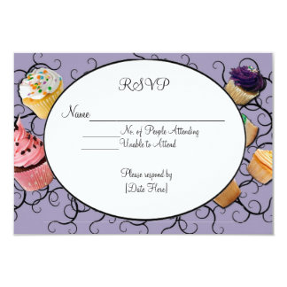 Cupcakes RSVP Card 9 Cm X 13 Cm Invitation Card