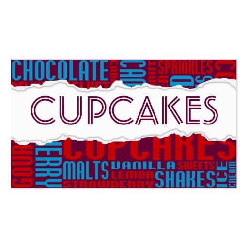 cupcakes shop torn paper business cards
