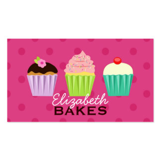 Cupcakes Trio Polka Dot Business Card