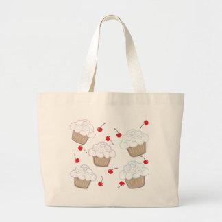 Cupcakes with Pastel Sprinkles & Cherries Large Tote Bag