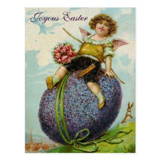 Cupid Angel Roses Easter Egg PostCard Vintage