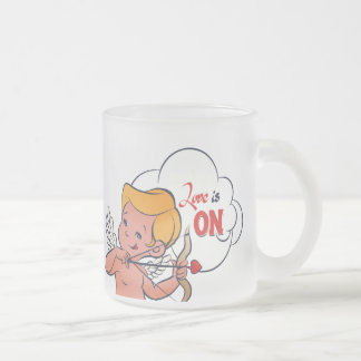 Cupid archer turn Love is On  Pop-Art Frosted Glass Coffee Mug