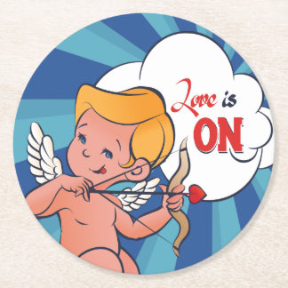 Cupid archer turn Love is On  Pop-Art Round Paper Coaster