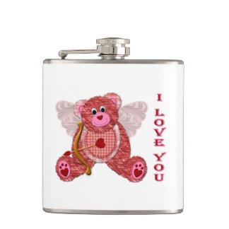 Cupid Bear Valentine I Love You Flask