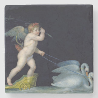 Cupid being led by a pair of swans (oil on panel) stone coaster