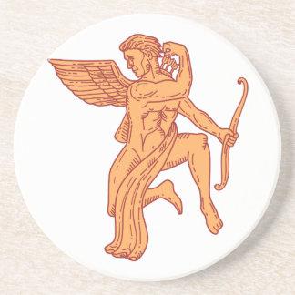 Cupid Bow Drawing Arrow Mono Line Coaster