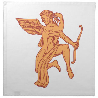 Cupid Bow Drawing Arrow Mono Line Napkin