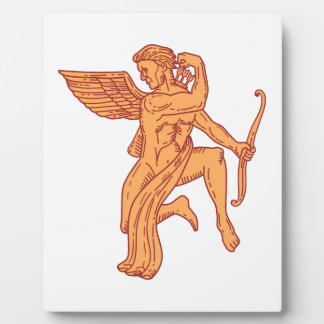 Cupid Bow Drawing Arrow Mono Line Plaque