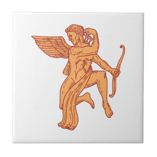 Cupid Bow Drawing Arrow Mono Line Small Square Tile