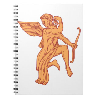 Cupid Bow Drawing Arrow Mono Line Spiral Notebook