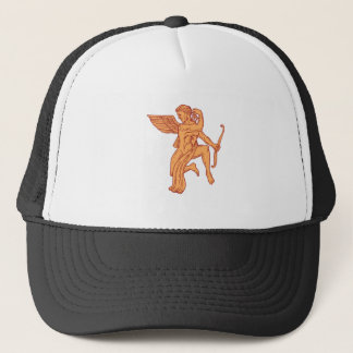 Cupid Bow Drawing Arrow Mono Line Trucker Hat