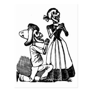 Cupid Calavera, Skeleton Lovers c. 1900s Postcard