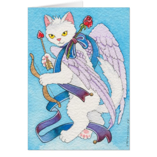 Cupid cat notecard