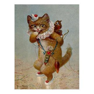 Cupid Cat Vintage early 1900's Postcard