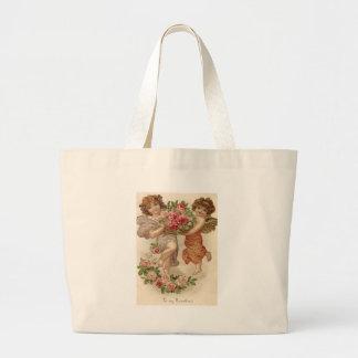 Cupid Cherub Angel Basket Roses Rose Jumbo Tote Bag