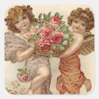 Cupid Cherub Angel Basket Roses Rose Square Sticker