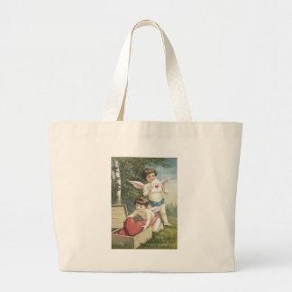 Cupid Cherub Angel Box Heart Valentine Jumbo Tote Bag
