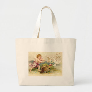 Cupid Cherub Angel Dove Heart Large Tote Bag