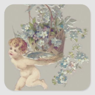 Cupid Cherub Angel Forget-Me-Not Square Sticker