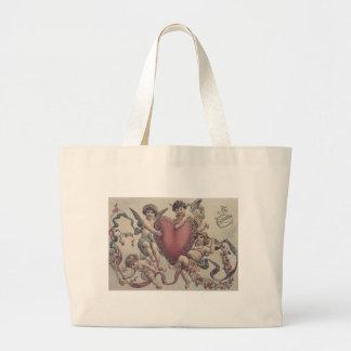 Cupid Cherub Angel Heart Flowers Jumbo Tote Bag