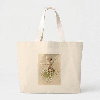 Cupid Cherub Angel Valentine Daisy Large Tote Bag