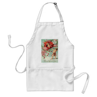 Cupid Cherub Bow arrow Heart Floral Standard Apron