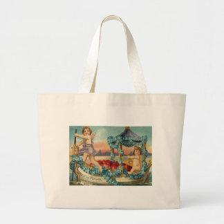 Cupid Cherub Gondola Heart Forget Me Nots Jumbo Tote Bag
