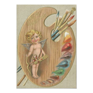 Cupid Cherub Paint Brush Palette Heart 13 Cm X 18 Cm Invitation Card