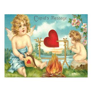Cupid Fire Heart Stream Flowers Bellows Spit Postcard