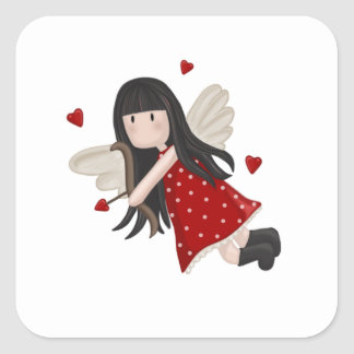 Cupid girl square sticker